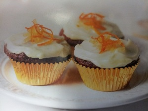 Ginger Cupcakes with cream cheese and Clementine icing