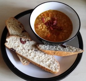 Lentil Bacon Soup with Roasted Fennel & Olive Bread